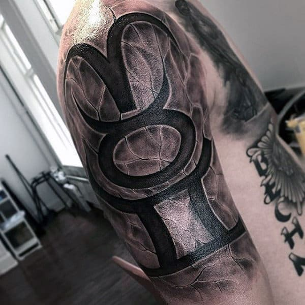 Stone Lettering Awesome Mens Upper Arm Tattoo