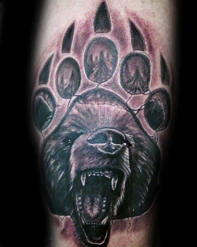 Stone Male Bear Claw Arm Tattoos