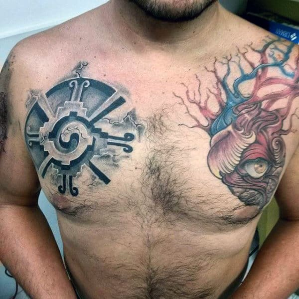 Stone Mayan Symbol Male Upper Chest Tattoos