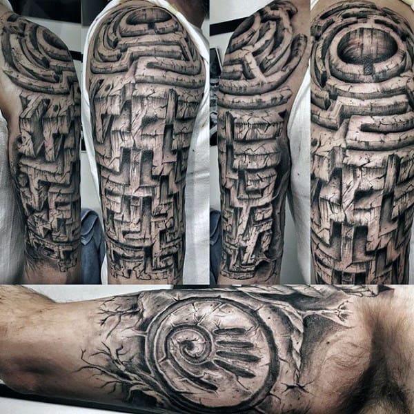 Stone Maze Mens 3d Half Sleeve Amazing Tattoos