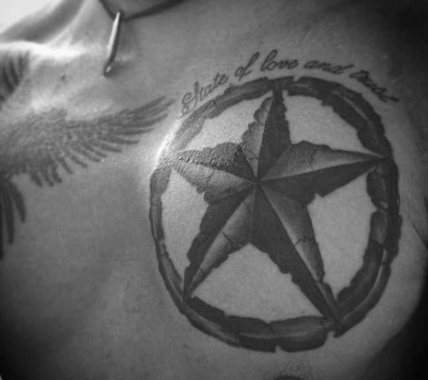 Stone Nautical Star Tattoo For Guys On Chest