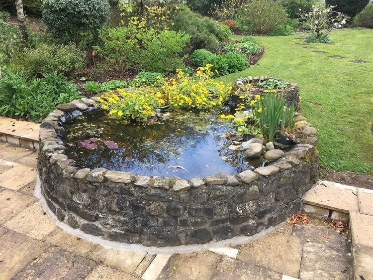 Stone Patio Backyard Container Pond