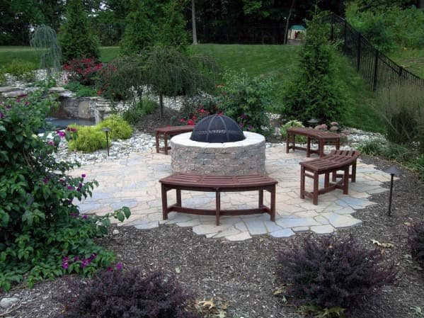 Stone Patio Backyard Fire Pit Landscape Ideas