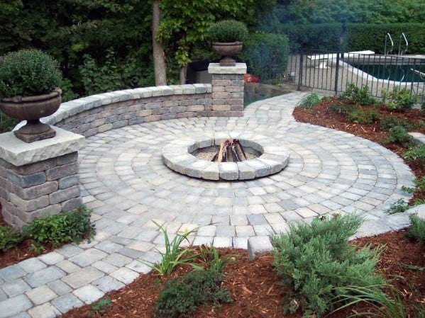 Stone Pavers Fire Pit Landscaping Ideas