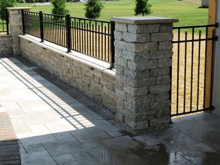 Stone Pavers Vertical Bar Pool Fence Design Idea Inspiration