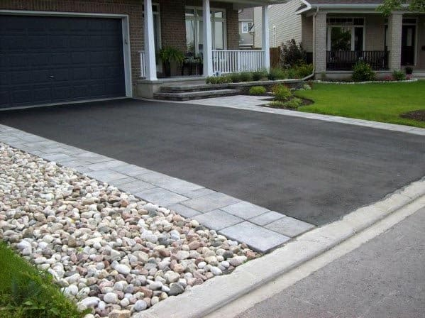 Stone Pebble Driveway Edging Ideas