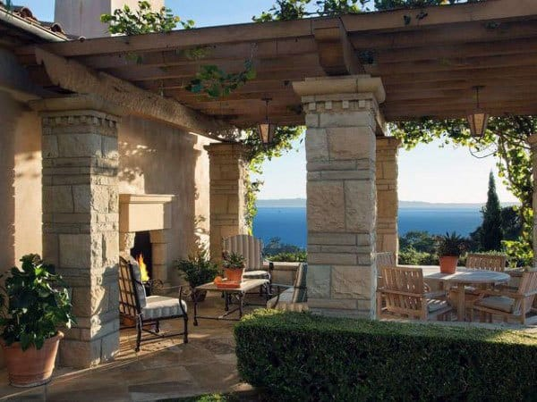 Stone Pillars With Wood Beams Pergola Ideas