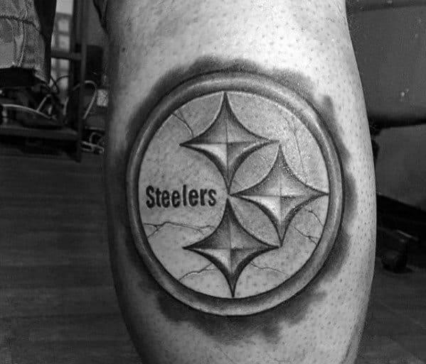 Stone Pittsburgh Steelers Mens Leg Calf Tattoos