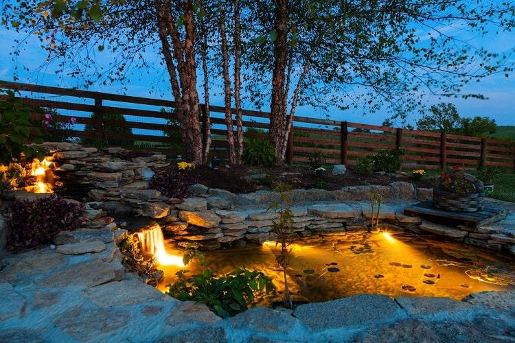 Stone Pond With Lights Backyard Waterfall
