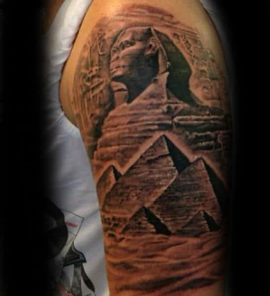Stone Pyramid Mens Half Sleeve Tattoos