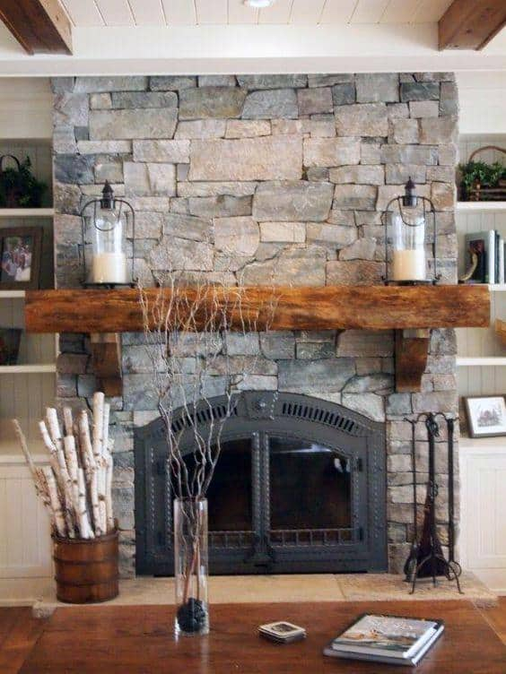 Stone Rock Fireplace Mantel Design