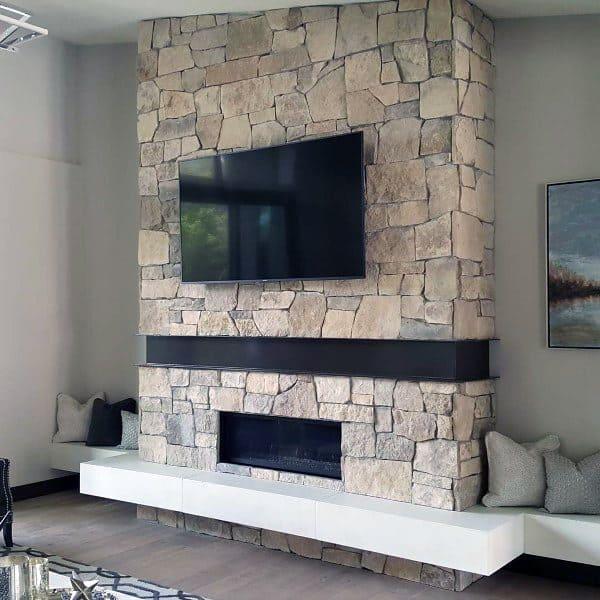 Top 50 best gas fireplace designs modern hearth ideas stone rock gas fireplace designs teraionfo