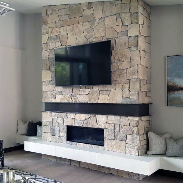 stone rock gas fireplace designs - Fireplace Designs