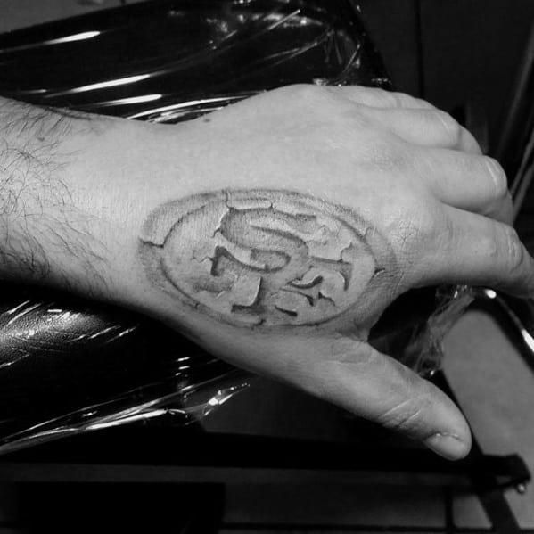 Stone San Francisco 49ers Logo Guys Hand Tattoo