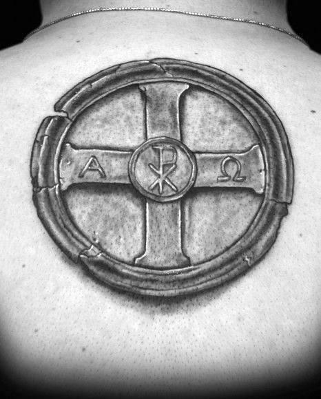 Stone Shaded Alpha Omega Mens Upper Back Tattoo