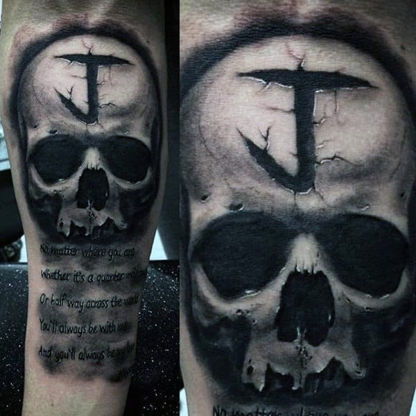 Stone Skull 3d Insane Tattoos For Men On Inner Forearm