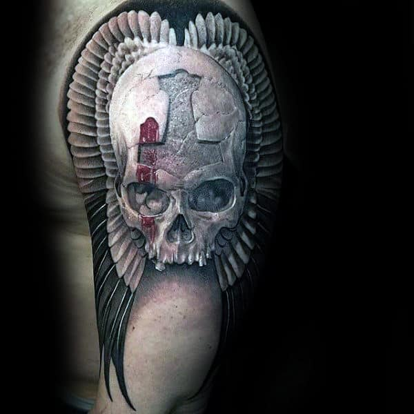 Stone Skull With Wings Black Ink Upper Arm Guys Tattoos