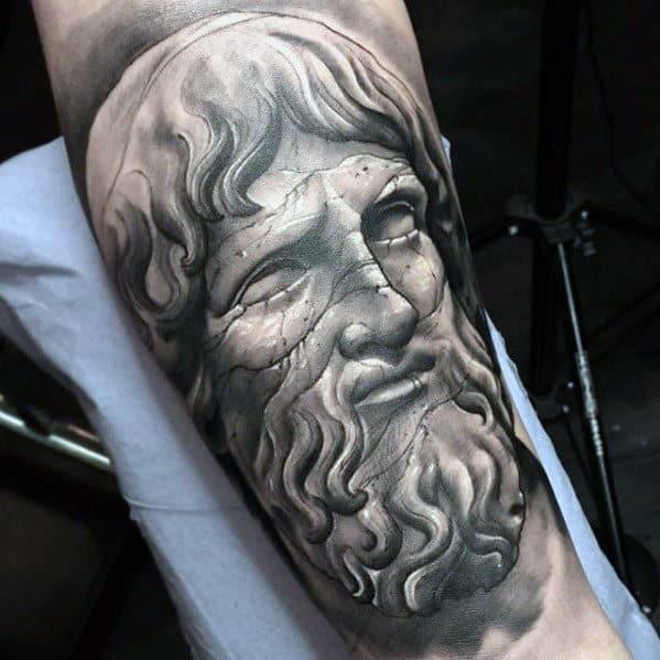 Stone Statue Greek Portrait Mens Sweet Arm Tattoos