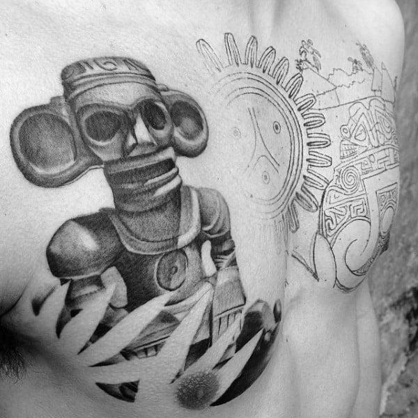 Stone Taino Chest Tattoos On Gentleman