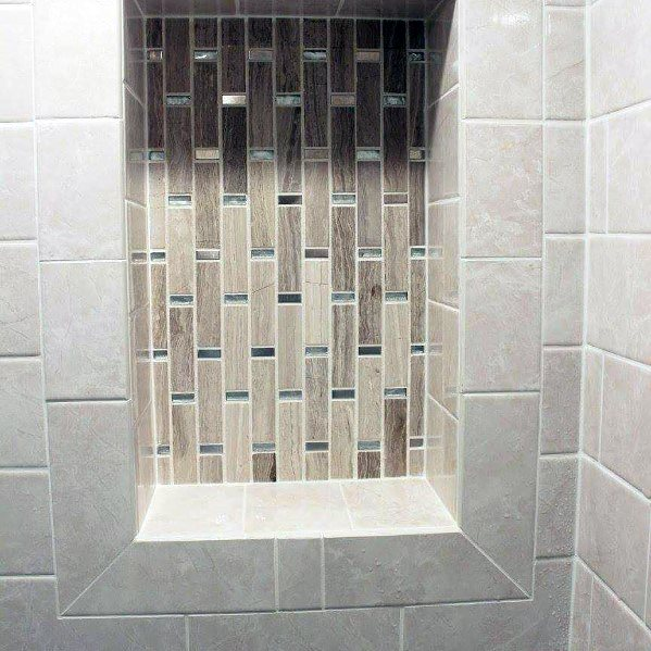 Stone Tan Tiles With Glass Accents Interior Designs Shower Niches