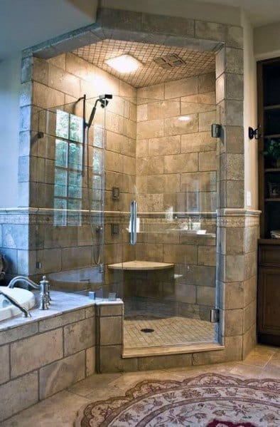 Stone Tile Corner Shower Ideas