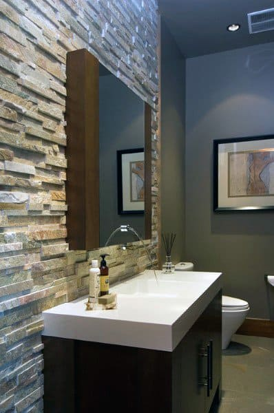 Stone Tile Wall Half Bath Ideas