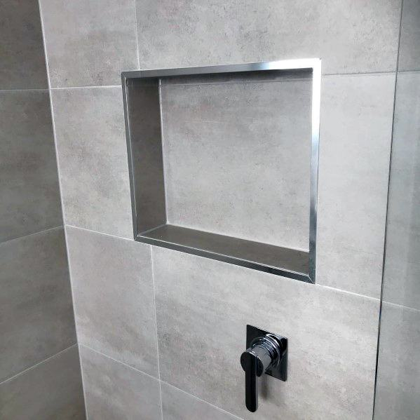 Stone Tiles With Stainless Steel Trim Impressive Shower Niche Ideas
