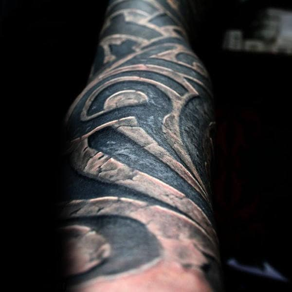Stone Tribal Mens Forearm Sleeve Tattoos