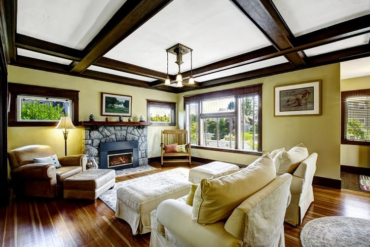 Stone Trim Fireplace Coffered Ceiling