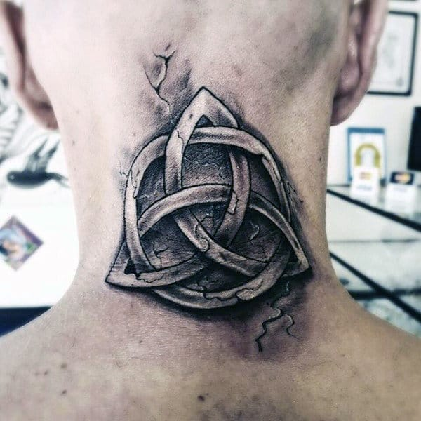 Stone Triquetra Mens Back Of Neck Tattoos