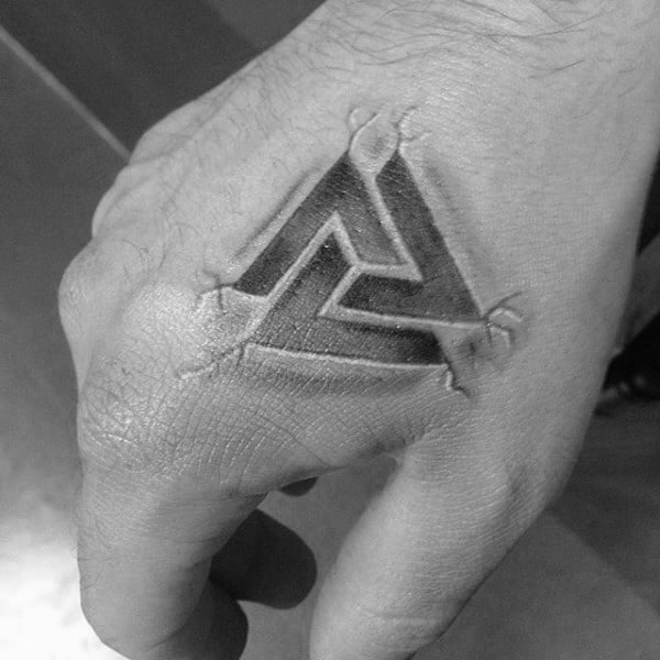 Stein Valknut 3d Jungs Hand Tattoos