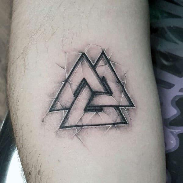 Stein Valknut Kleine männliche Arm Tattoo