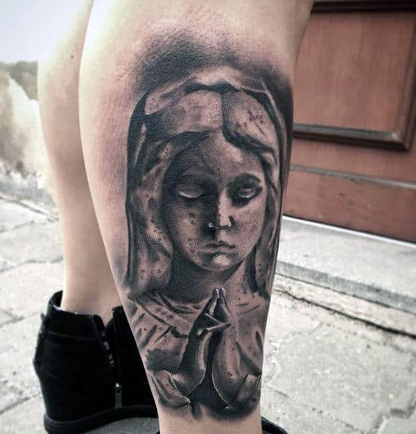 Stone Virgin Mary Lower Leg Male Tattoo Designs