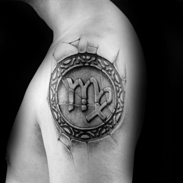 Stone Virgo Upper Arm Tattoo On Male