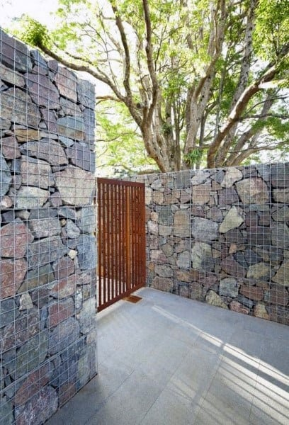 Stone Wall Backyard Fence