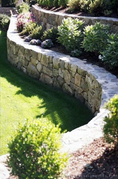 Stone Wall Ideas For Slope Landscaping