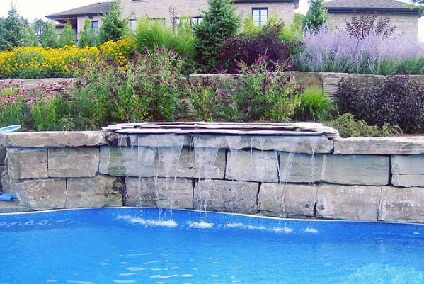 Stone Wall Waterfall Pool Landscaping Design Ideas