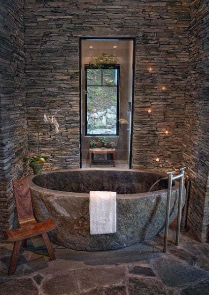 Stone Wall With Stone Bathtub Rustic Bathroom Ideas