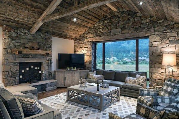 Stone Walls Rustic Living Room Ideas