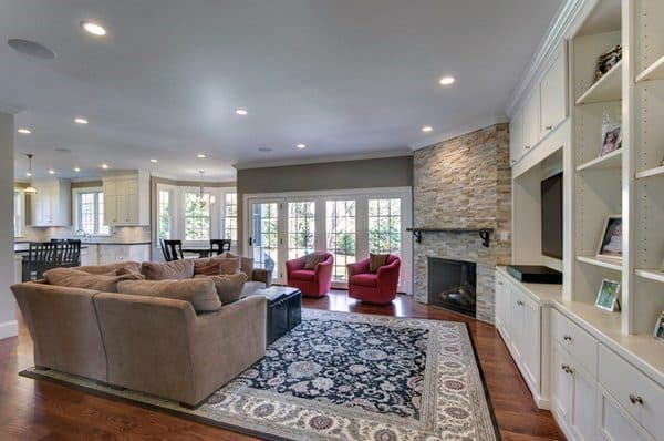 Stone With White Bookcases In Living Room Corner Fireplace Design