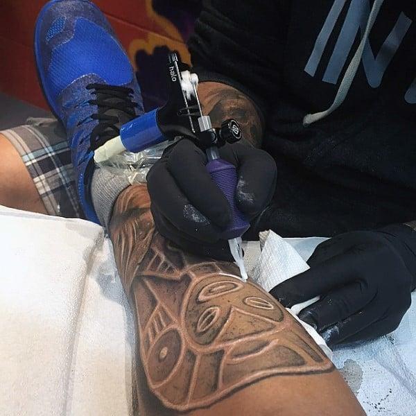 Stone With White Ink Taino Mens Shaman Tattoos