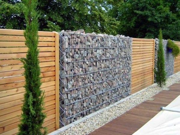 Stone Wooden Fence Backyard Ideas
