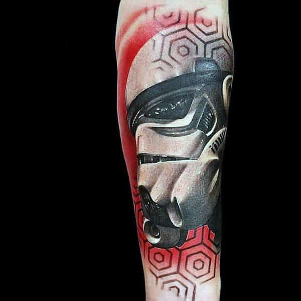 Stormtrooper Red Hexagons Star Wars Tattoo On Forearms