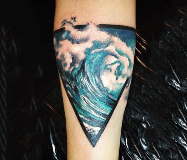 Stormy Blue Triangle Tattoo On Arms For Men