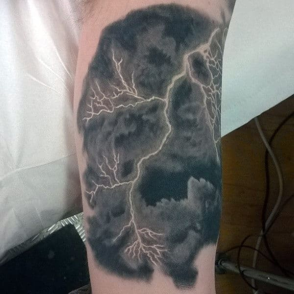 Stormy Sky And Lightening Tattoo Mens Inner Biceps