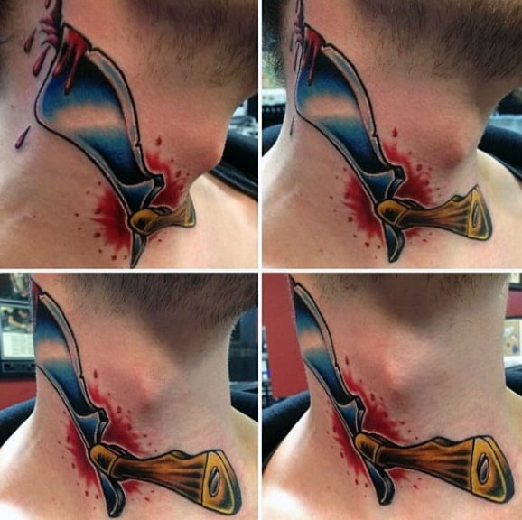 Straight Razor Piercing Mans Neck Tattoo