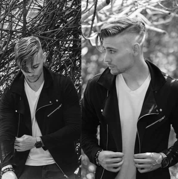 Straight Shaved Sides Trendy Guys Hairstyles