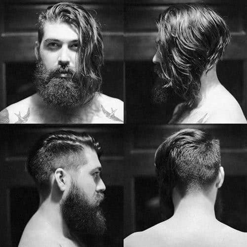 Straight Side Part Male Haircut With Beard