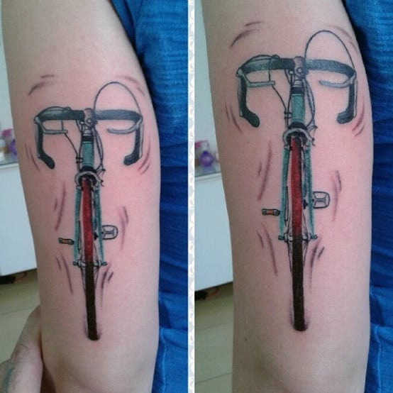 Straight View Bicycle Tattoo On Arms For Guys