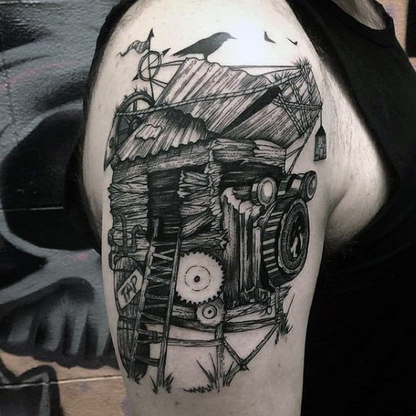 Straw House Built On Camera Tattoo Male Arms Ideas